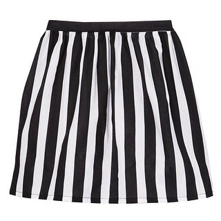 Girls Black White Contrast Vertical Striped Pattern Cotton Skirt 7-10