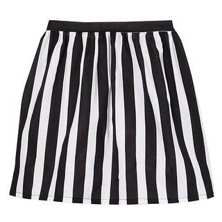 Little Girls Black White Contrast Vertical Striped Pattern Cotton Skirt 12M-6 (Option: 3t)