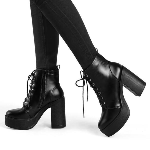 Black High Heel Combat Boots