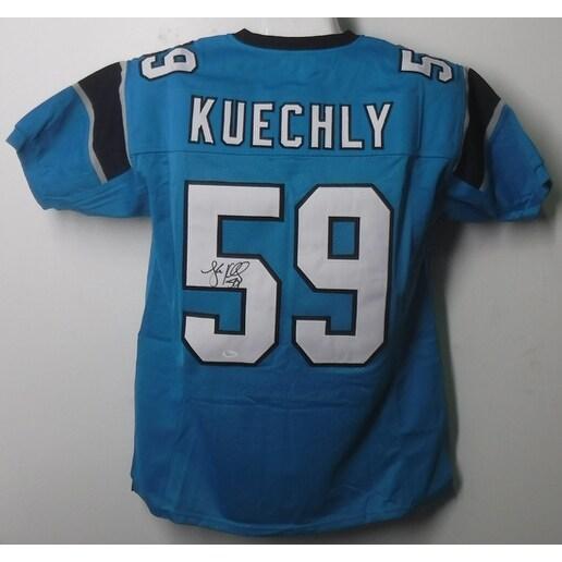 new style 54198 ec64a Luke Kuechly Autographed Carolina Panthers Size XL Blue Jersey JSA