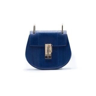 Chloe Women's Drew Mini Python Blue Navy Shoulder Bag