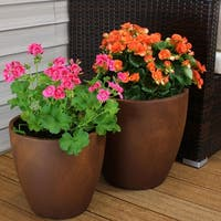"Sunnydaze 2-Piece Fiber Clay Textured Rust Planter Pot - 12-Inch and 15-Inch - (1) 12"" & (1) 15"""
