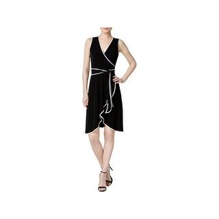 Calvin Klein Womens Petites Cocktail Dress Faux Wrap Sleeveless