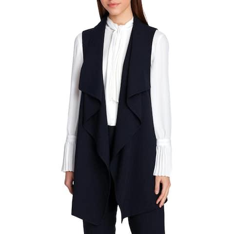 Tahari ASL Womens Petites Vest Draped Pinstripe - 10P