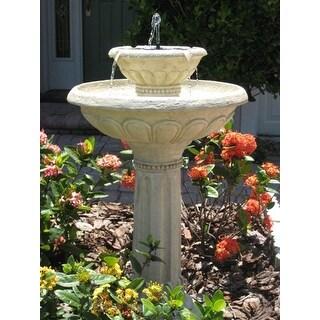 Smart Solar 34251RM1 Antique White Stone Kensington Gardens 2 Tier Solar On Demand Fountain