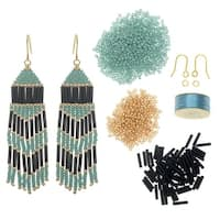 Refill - Chevron Beaded Fringe Earrings - Black/Gold/Seafoam - Exclusive Beadaholique Jewelry Kit