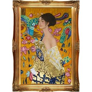 Gustav Klimt 'Signora con Ventaglio' (Luxury Line) Hand Painted Oil Reproduction