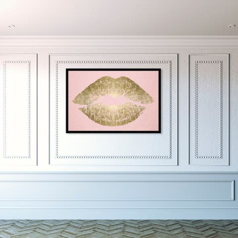Oliver Gal 'Solid Kiss Blush and Gold' Fashion and Glam Framed Wall Art Prints Lips - Gold, Pink