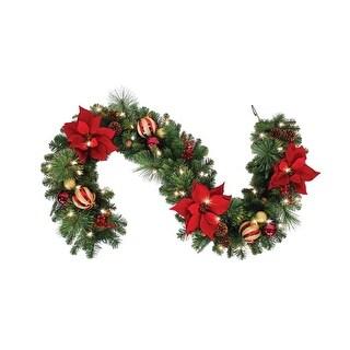 "Celebrations RYC-5P17-612 Royal Crimson Prelit Green LED Christmas Garland, 12"" X 6'"