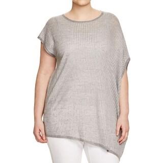 Eileen Fisher Womens Plus Tunic Top Organic Linen Asymmetric