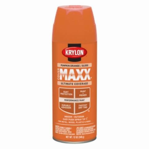 Krylon K09133000 CoverMaxx Performance Spray Paint, Gloss Pumpkin Orange, 12 Oz