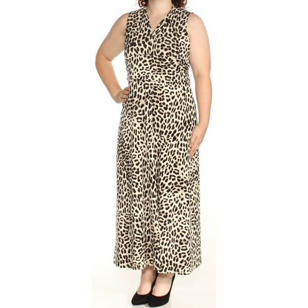 09b60f59d4 Shop VINCE CAMUTO Womens Black Animal Print Sleeveless V Neck Maxi Fit +  Flare Dress Size: 1X - Free Shipping On Orders Over $45 - Overstock -  23457681