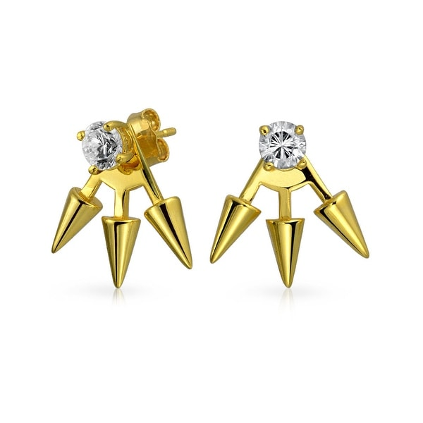 Bling Jewelry Gold Plated Sterling Silver Spiked Modern Cz Earring Jackets