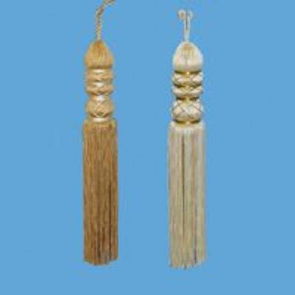 Set of 2 Asian Fusion Ivory and Gold Thread Tassel Christmas Ornaments 8""