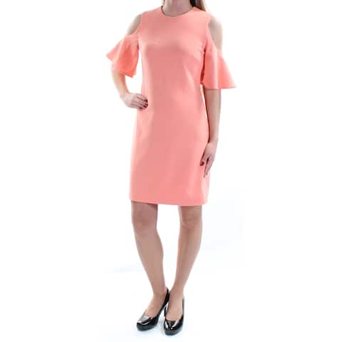 7655032d97d CALVIN KLEIN Womens Coral Cut Out Ruffled Short Sleeve Jewel Neck Above The  Knee Sheath Cocktail