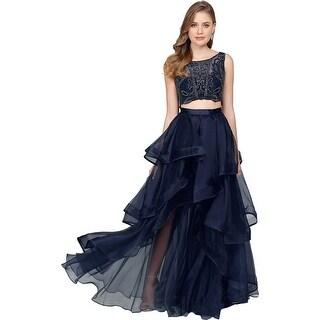 Terani Couture Prom Beaded Crop Top Dress