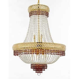 French Empire Crystal Chandelier Chandeliers Lighting Trimmed with Ruby Red Crystal! Good for Dining Room, Foyer, Entryway, Fami