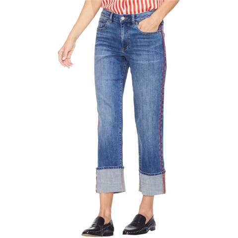 Vince Camuto Womens Piped Trim Straight Leg Jeans