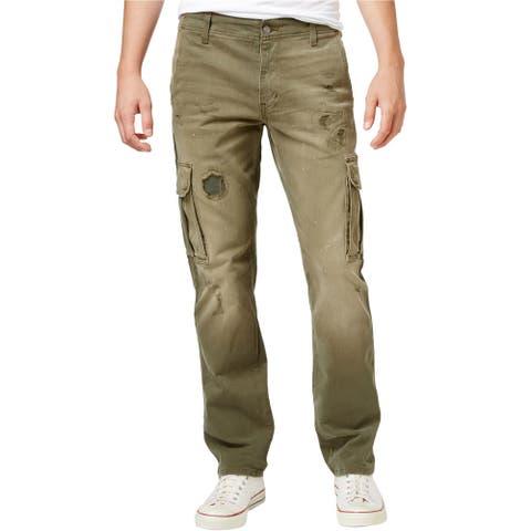LRG Mens Surplus Casual Cargo Pants, Green, 32W x 32L