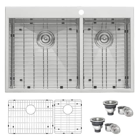 Ruvati 33 x 22 inch Drop-in Topmount 60/40 Double Bowl 16 Gauge Zero Radius Stainless Steel Kitchen Sink - RVH8050