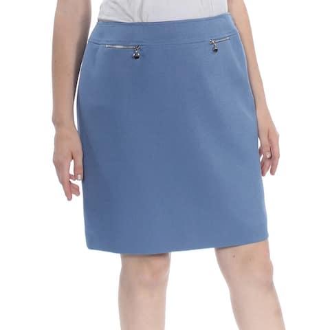 Tahari By ASL Women's Skirt Blue Size 10P Petite Mini Dual Pocket