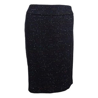 Nine West Women's Plus Size Sequined Tweed Pencil Skirt - Black Multi