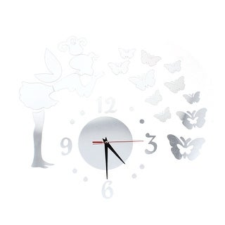 Unique Bargains Fairy Butterfly Acrylic Mirror Wall Decor Clock Wall Sticker Decals