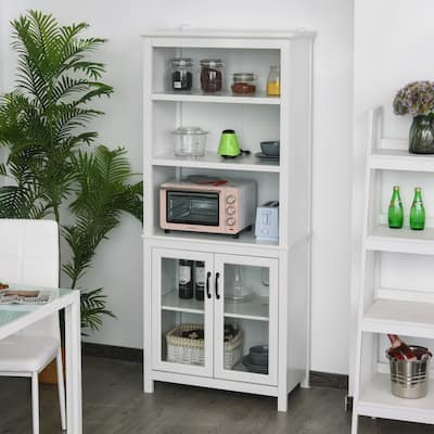 HOMCOM Multifunctional Storage Cabinet Bookcase with Adjustable Shelves Display Rack for Study, Kitchen, Living Room