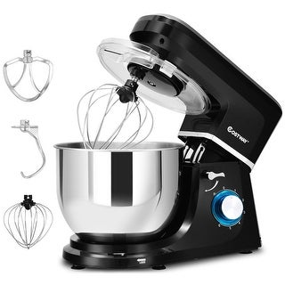 Costway Electric Food Stand Mixer 6 Speed 7.5Qt 660W Tilt-Head Stainless Steel Bowl - Black