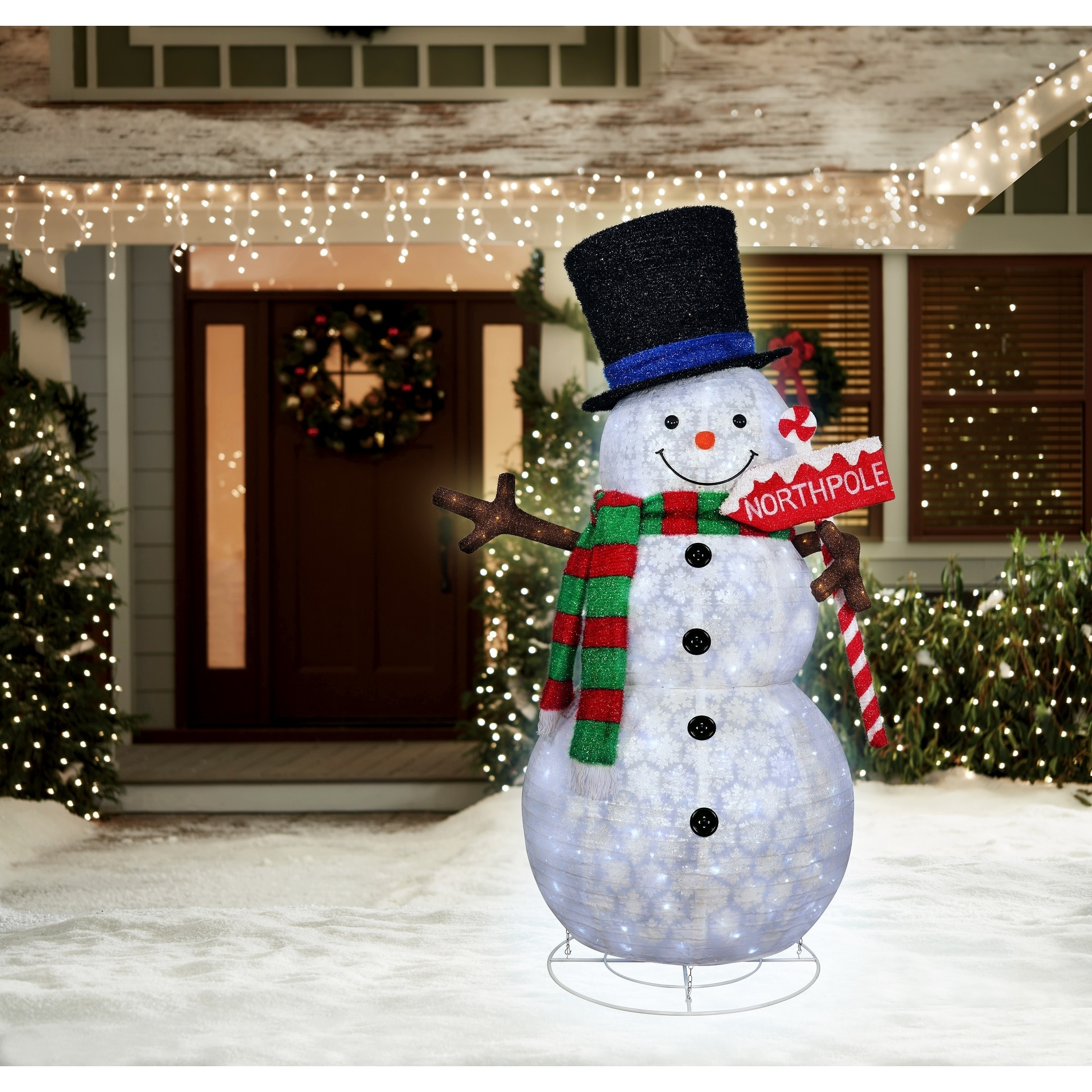 """84"""" LED Lighted Snowman and North Pole Sign Christmas Outdoor Decoration"""