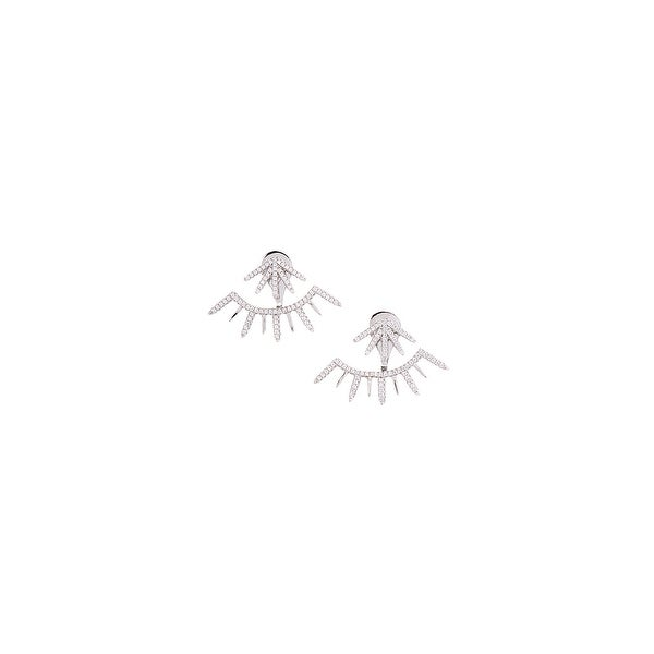 925 Sterling Silver Multi Line Ear Jacket with Cubic Zirconia
