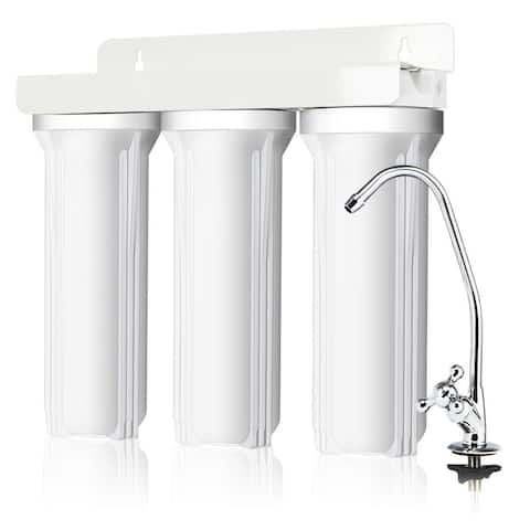 Costway 3-Stage Under-Sink Water Filter System Water Filtration with Chromed Faucet New