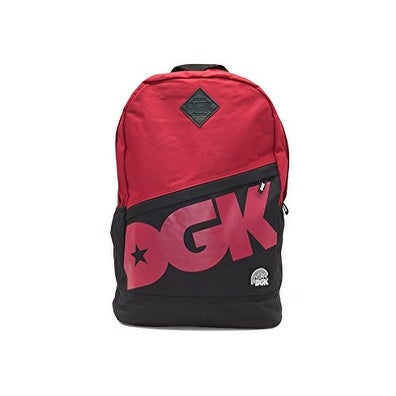 DGK Men's Downtown Angle Deluxe Backpack Bag Black/Dark Red - black/ dark red - 0
