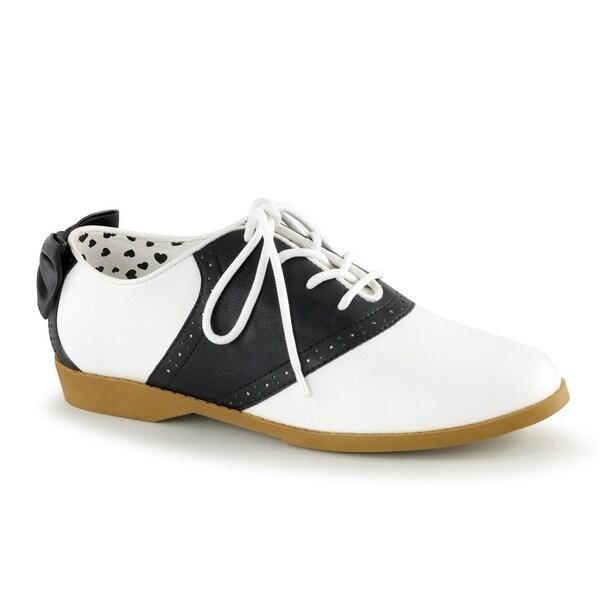Womens Black & White Bow Saddle Costume Shoes