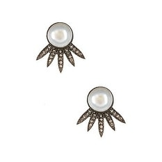 Genuine Diamond and Freshwater Pearl Ear Jacket Earrings