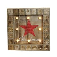 """14"""" Battery Operated LED Lighted Wooden Advent Calendar Wall Decoration - brown"""