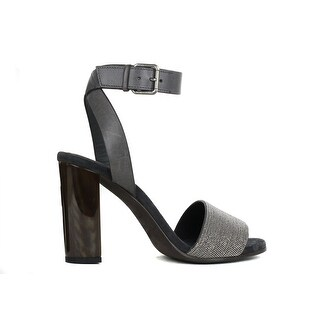 Brunello Cucinelli Women's Grey Monili Leather Heel Sandals