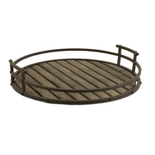 """20"""" Antique Finished Wood and Iron Round Industrial Decorative Serving Tray"""