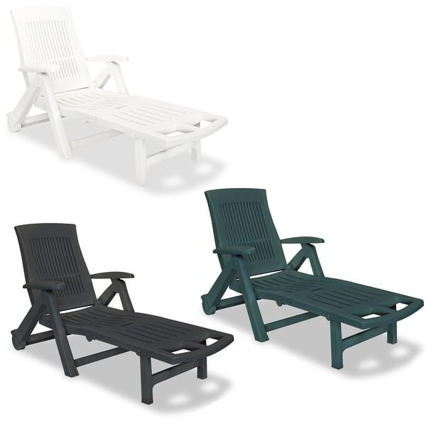Peachy Shop Vidaxl Sun Lounger With Footrest Plastic Sunbed Garden Pabps2019 Chair Design Images Pabps2019Com