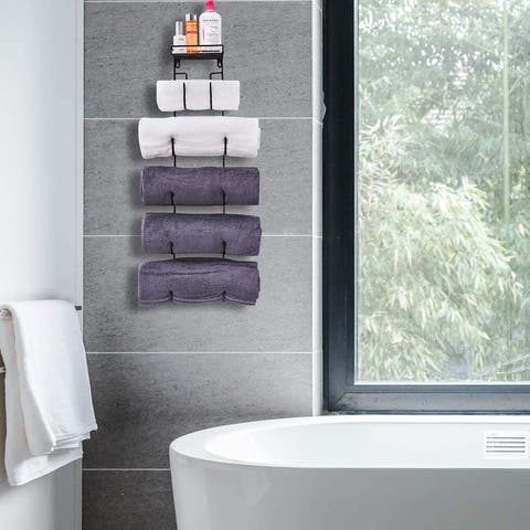 Wall Mount Metal Wine / Towel Rack with Top Shelf