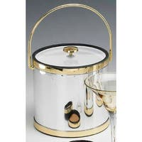 Kraftware 75964 Mylar Polished Chrome and Brass 3 Quart Ice Bucket with Bale Handle  Lucite Cover with Flat Knob