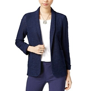 Maison Jules Three Quarter Sleeve Knit Blazer Blu Notte - xL