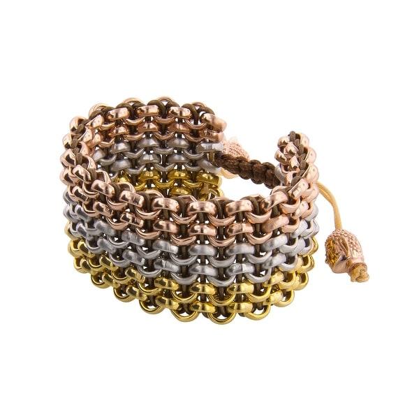 Links Women's Chocolate Six-Row Bracelet in 14K Three-Tone Gold Plate