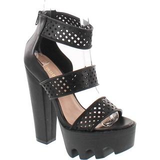Wild Diva Vive-13 Peep Toe Dress Chunky Lug Platform Thick Heel Ankle Strap Sandal