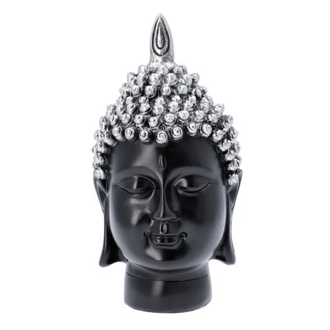 Silver Buddha Head Statue Home Decor Gifts Antique Table Top Figurines - 11x12x23 inches
