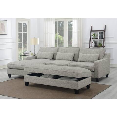 Porch & Den Faria Kenya Tweed Grey Chofa Sectional with 3 Kidney Pillows