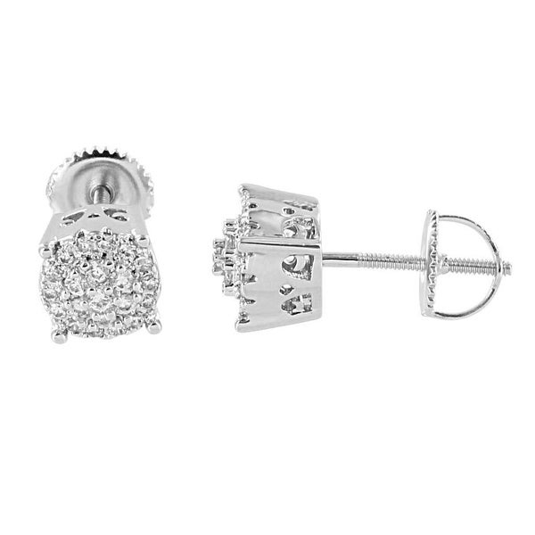 Cluster Design Earrings Lab Diamonds Silver Tone Screw Back Studs 7mm