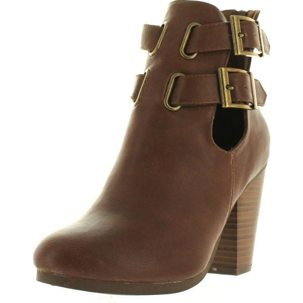 Breckelles Bg27 Women Leatherette Cut Out Buckle Chunky Heel Bootie - Tan