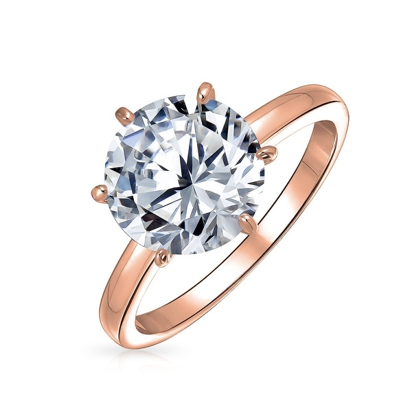 Shop Bling Jewelry Rose Gold Plated Brass Round CZ