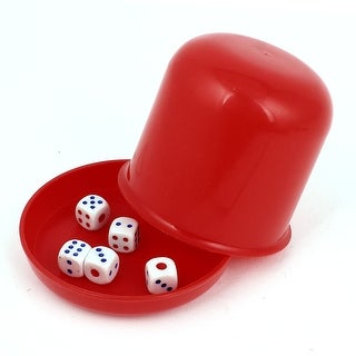 Unique Bargains Game Dice Roller Cup Red w 5 Dices